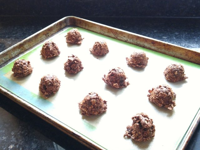 Chocolate covered raisin cookies ready to bake