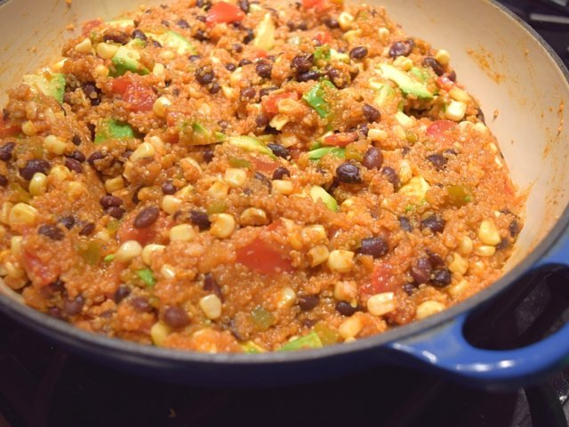 Completed Mexican skillet quinoa