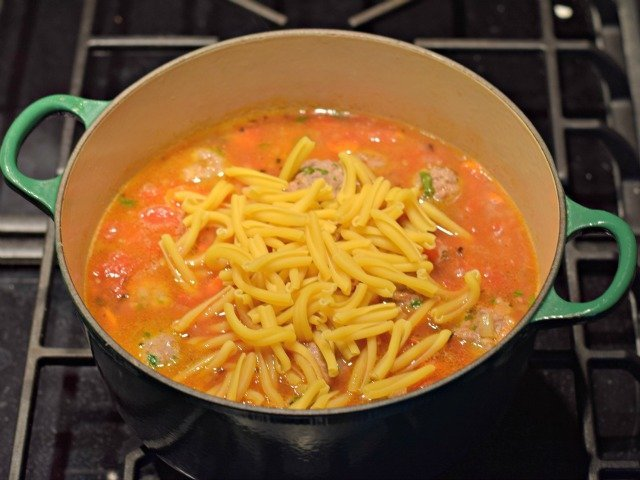Ad pasta to Italian meatball soup and stir