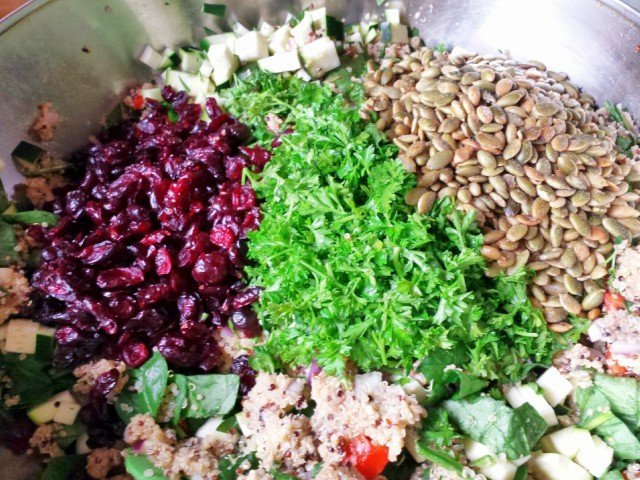 Add favorite veggies and additions to your harvest quinoa salad