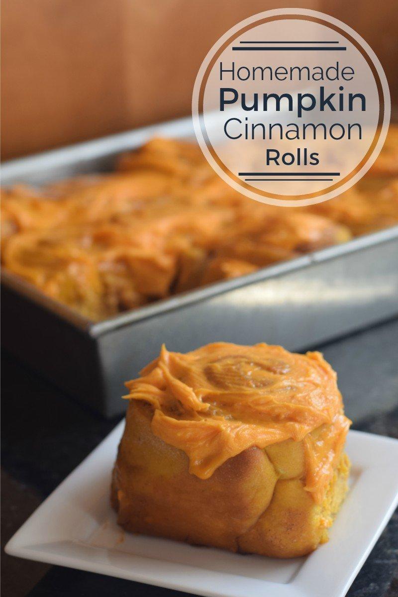 Homemade pumpkin Cinnamon Rolls ready to eat