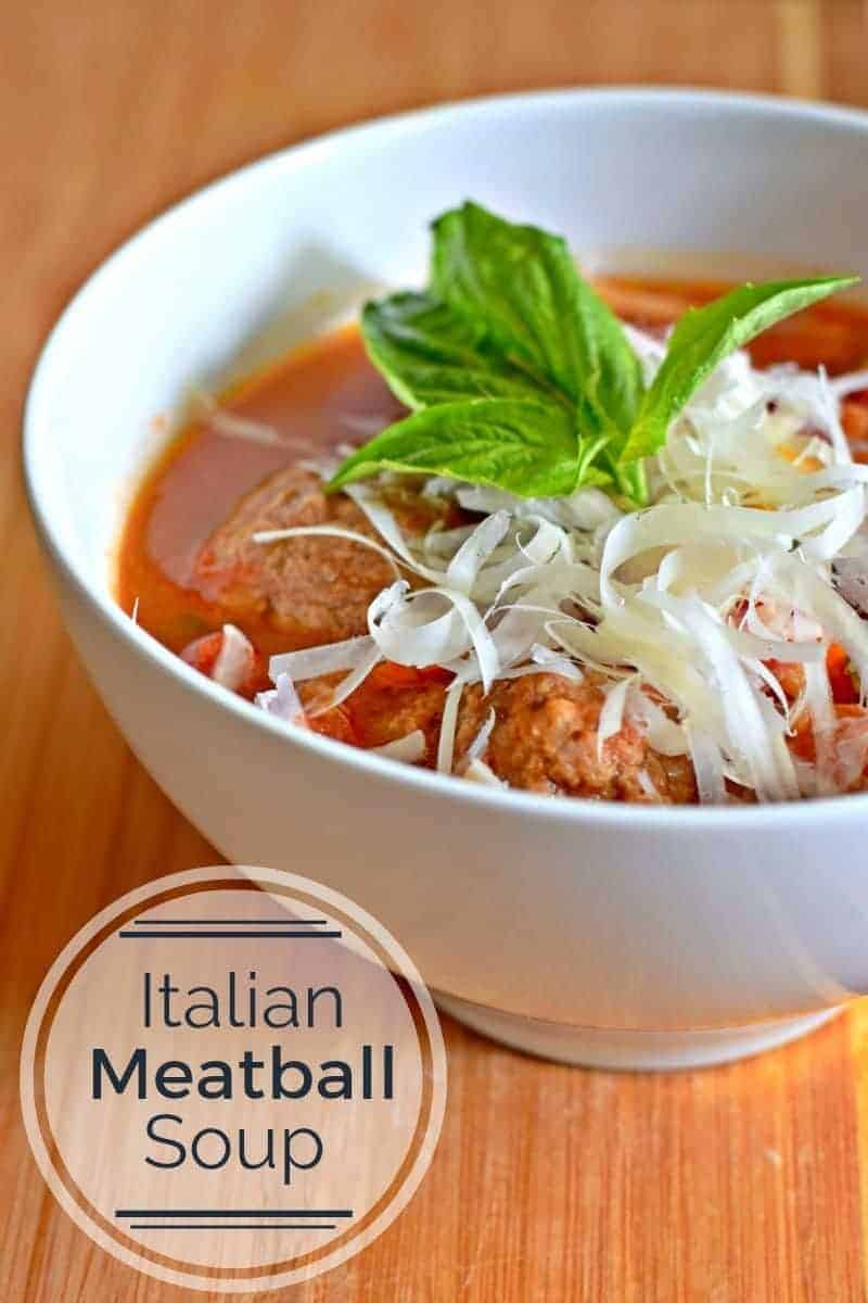 Italian Meatball soup is a perfect weeknight dinner. You cook it in one pot and it's ready in a half hour filled with veggies and tons of flavor yet kid friendly, too.