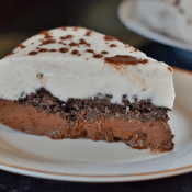Slice of dairy free gluten free vegan ice cream cake