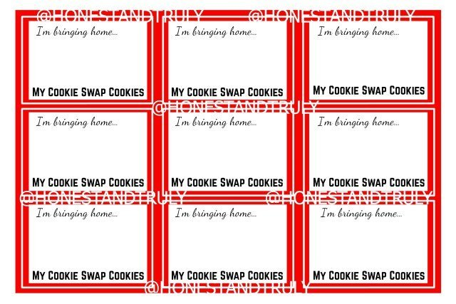 Free cookie swap labels Printable for posting