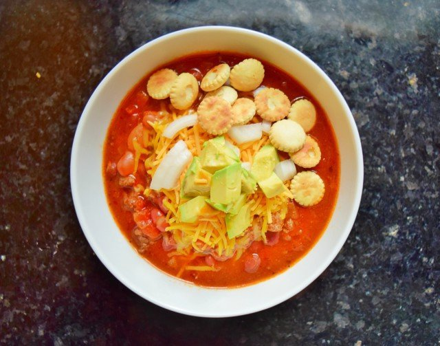Beautiful bowl of loaded crockpot chili