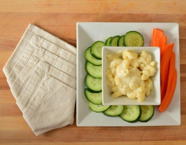 Lean Cuisine Mac and cheese as a dip with veggies
