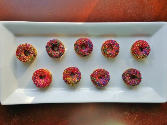 Homemade donuts on a platter to enjoy