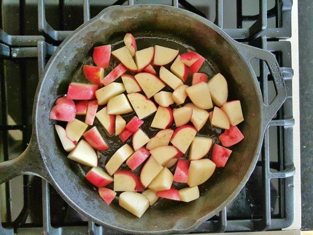 Add potatoes in one layer in your pan