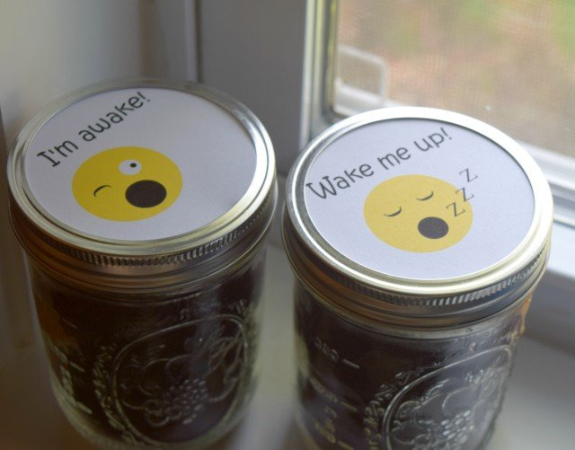 Fun emoji labels for caffeinated and decaffeinated coffee