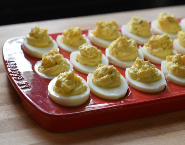 Bacon deviled eggs on a platter ready to eat