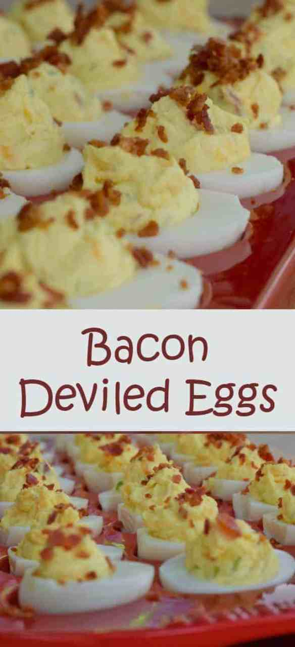 Bacon deviled eggs recipe - easy to make, easier to eat. Perfect appetizer for a potluck or picnic. Dress up traditional deviled eggs for something special with this easy recipe. Did I mention bacon?