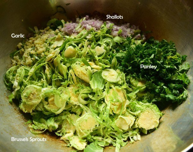 Ingredients for shaved brussels sprouts salad
