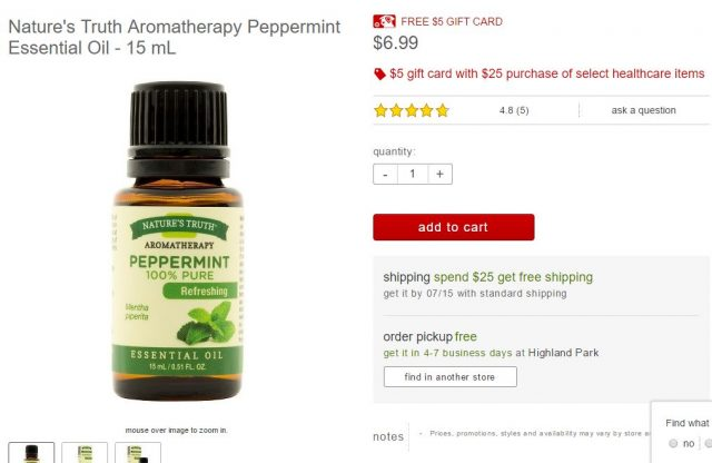 Natures Truth peppermint oil at Target