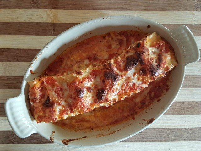 Bake lasagna roll ups until toasted on top