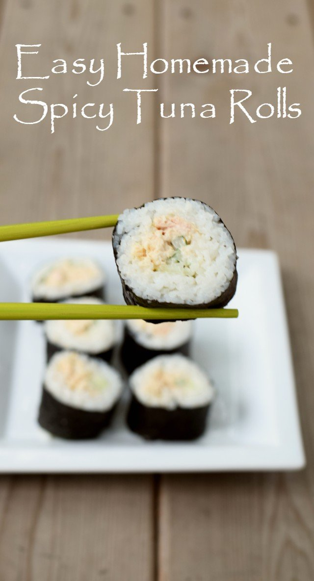 Recipe to make sushi at home using canned tuna for homemade spicy tuna rolls