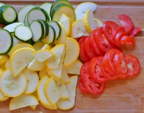 Slice everything for Roasted Italian Vegetables