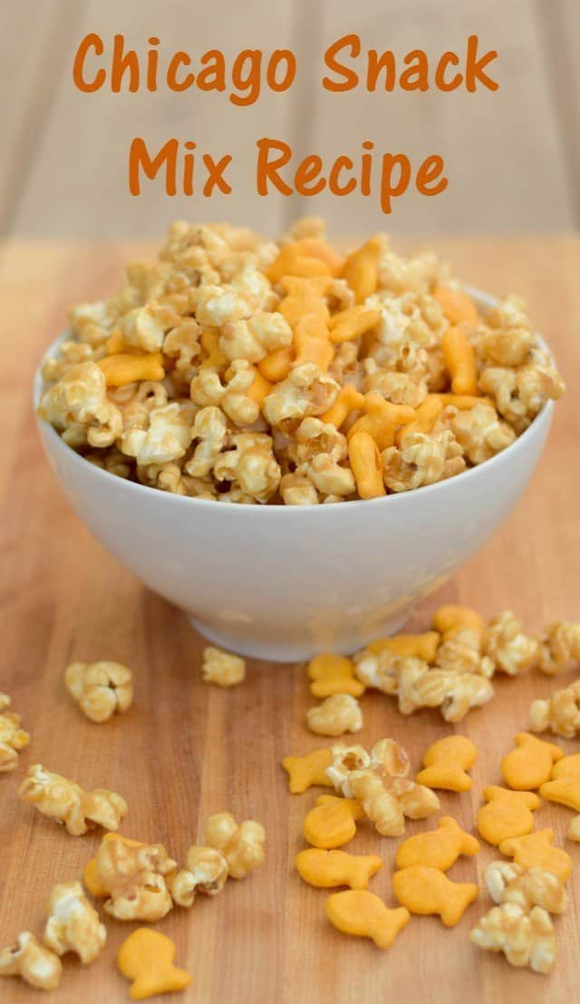 Super fun recipe for a homemade Chicago style popcorn mix for after school snacking. Delicious caramel corn mixed with Goldfish crackers for a perfect snack or movie treat.