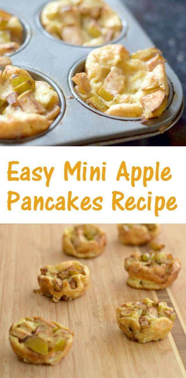 Delicious and easy mini apple pancakes recipe. Any mini food is cute, but this easy breakfast is great to make head in muffin tins and serve on busy mornings. Make it with fresh picked apples for a great fall treat!