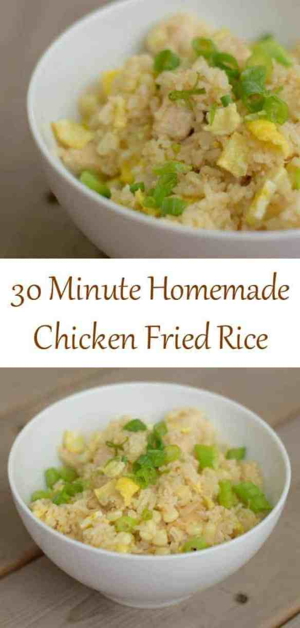 Try this delicious and easy weeknight homemade chicken fried rice recipe. Yes, you can have a yummy Asian dinner in under 30 minutes. It's completely kid-friendly and naturally dairy free. Use tamari to make this gluten free, too. Adapt the veggies to your taste and what you have in your pantry. These types of recipes are flexible!