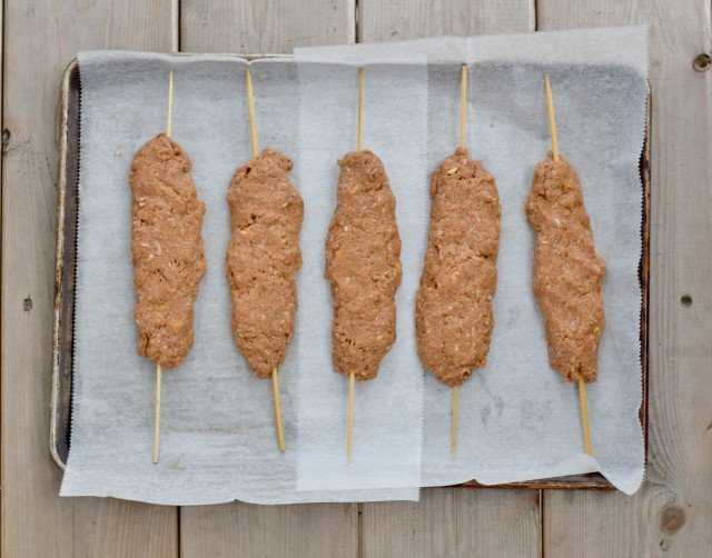 Form meat popsicles with kefta kebabs mixture