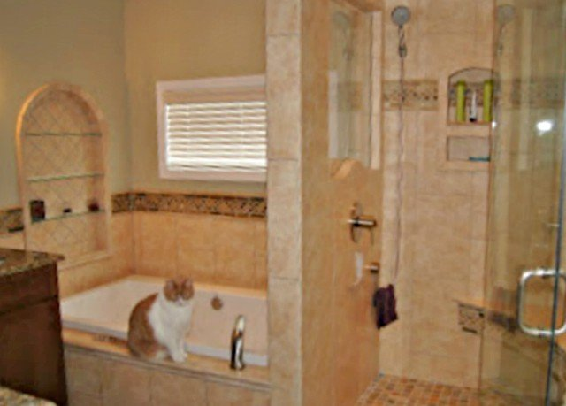 Great Bathroom shower and window to make it feel bigger and more custom