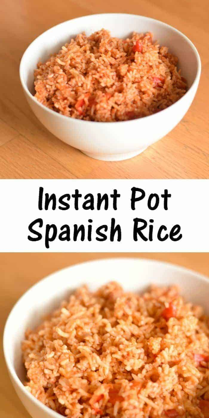 Recipe for Instant Pot Spanish Rice, a quick and delicious gluten free side dish for your weeknight dinner. Perfect side for all your Mexican dishes. Quick sub makes this vegan, too!