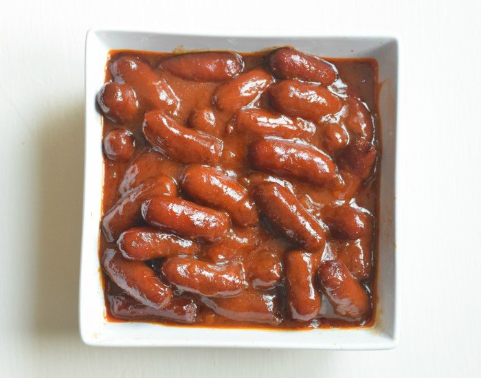 Bowl of bbq bourbon little smokies
