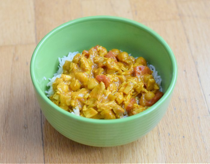 Dig into this gluten free dairy free chicken and chickpea curry recipe