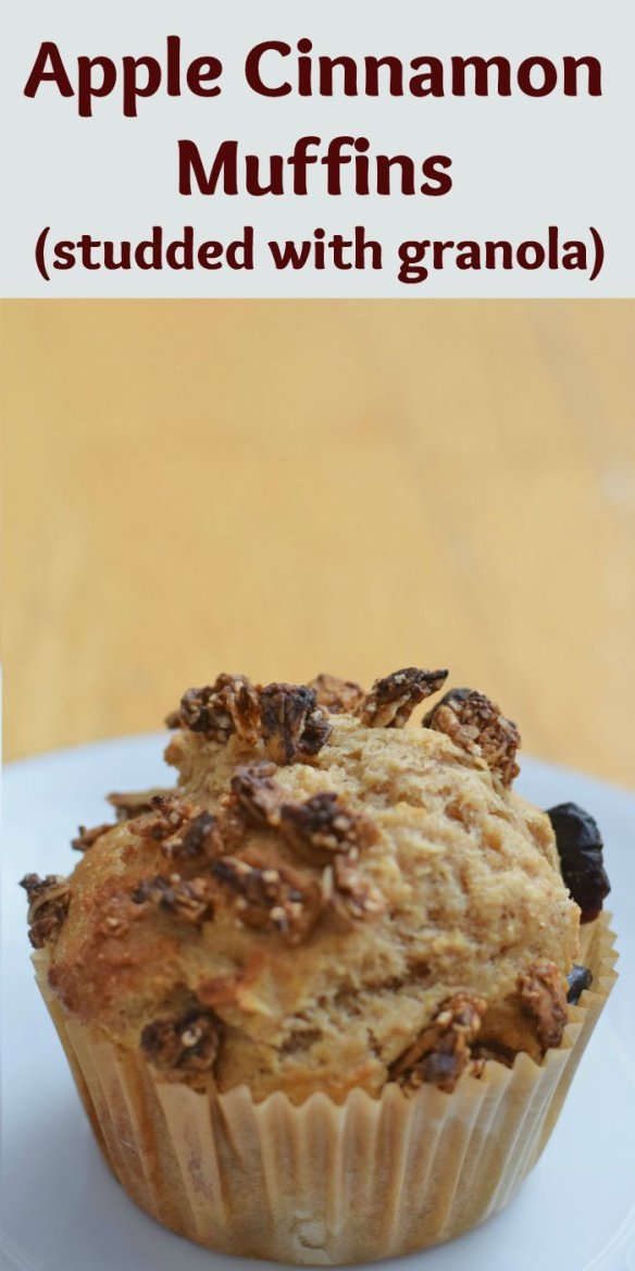 Homemade apple cinnamon muffins studded with granola are a delicious and easy breakfast recipe. Make ahead for a great on the go breakfast.