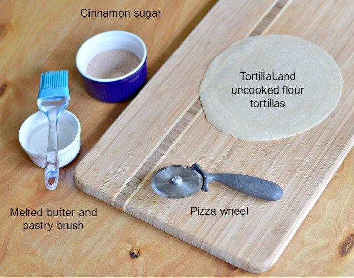 Ingredients for homemade cinnamon sugar tortilla chips