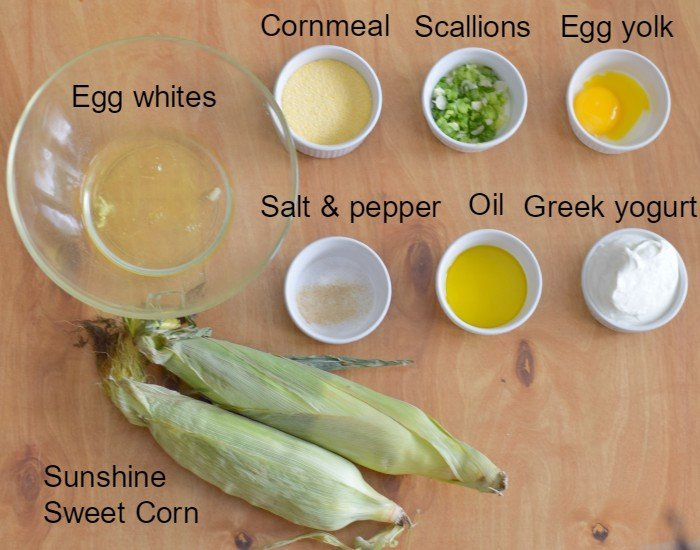 Ingredients for homemade corn fritters