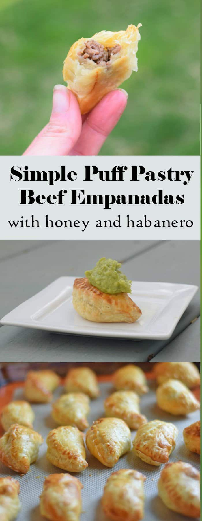 Delicious honey habanero homemade beef empanadas recipe using puff pastry. This easy appetizer is portable and has fantastic flavor for your summer picnics and more.