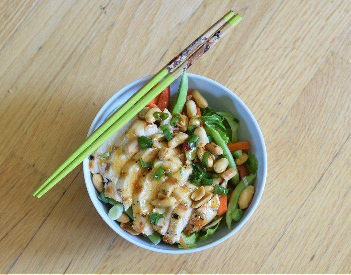 Bowl of homemade kung pao chicken salad