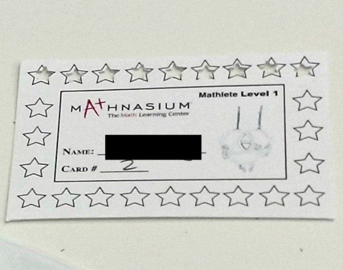 Mathnasium motivation sticker card