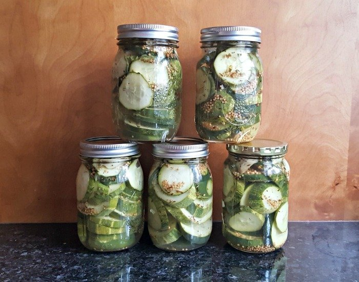 Finished product of refrigerator dill pickles recipe