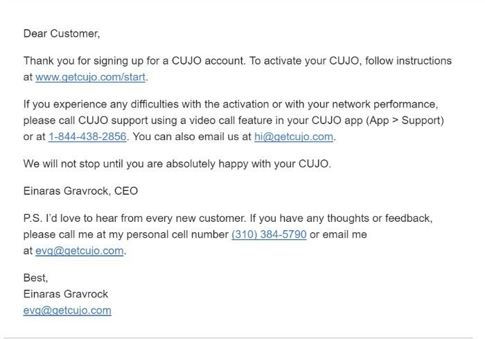 Cujo welcome email