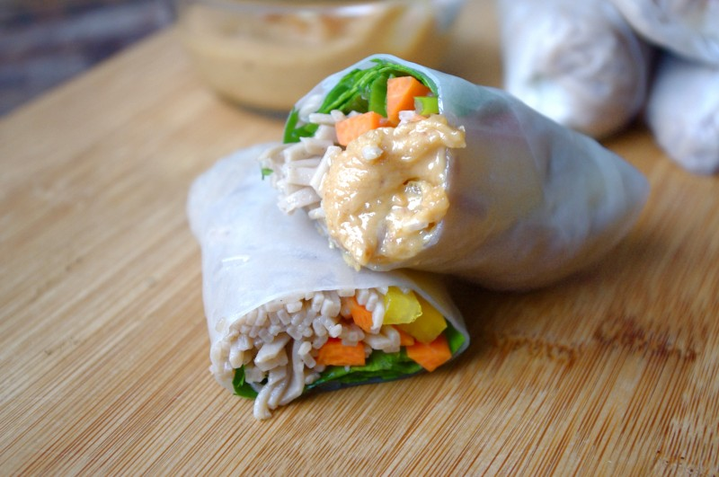 Soba Noodle Salad Rolls with Peanut Sauce