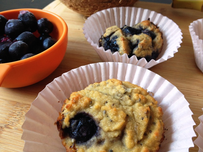 healthy blueberry coconut muffins by honestly fitness