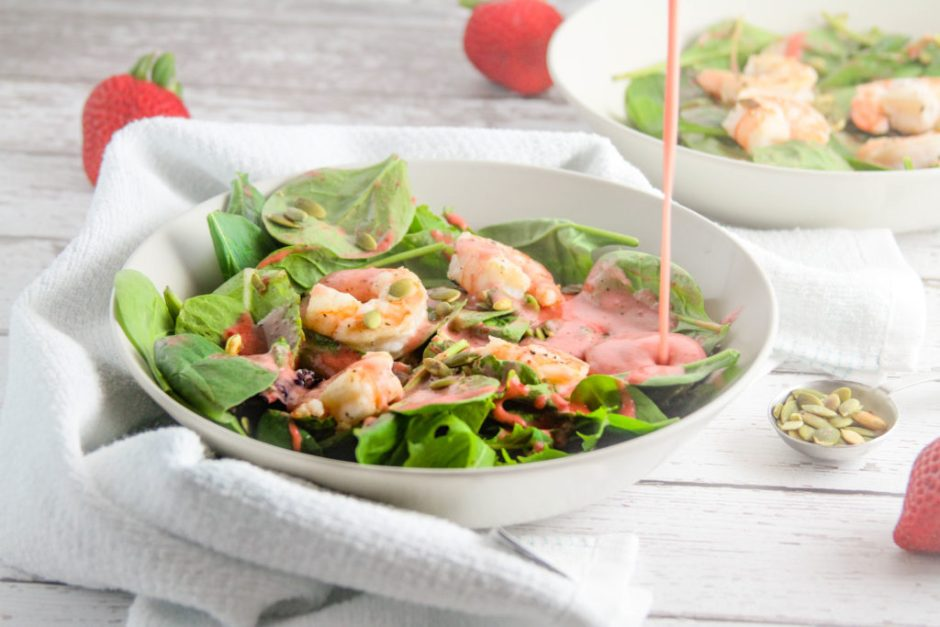 summer shrimp salad with strawberry mint algae oil dressing action