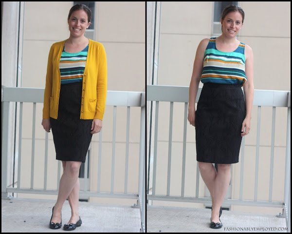 green and yellow stripes with black skirt