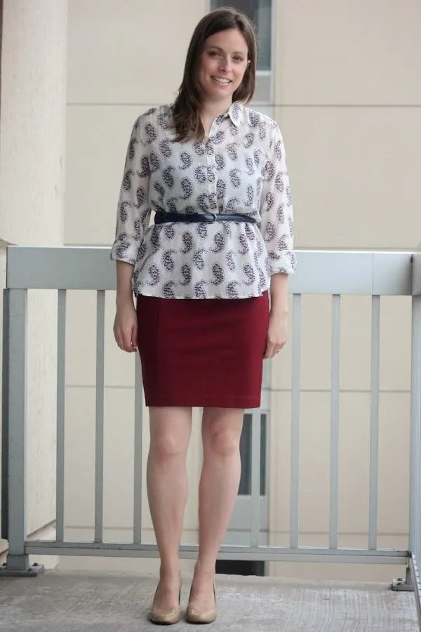 red skirt and paisley blouse