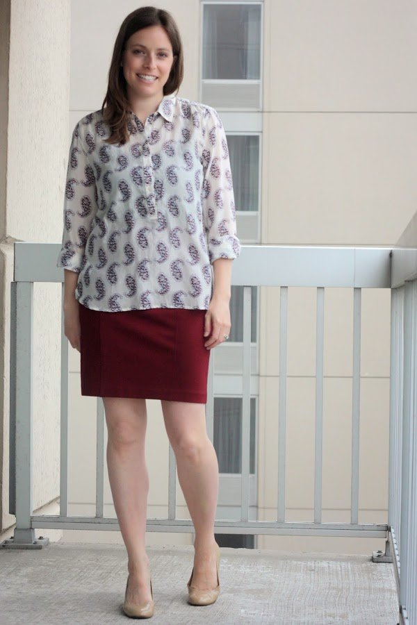 red skirt with paisley blouse