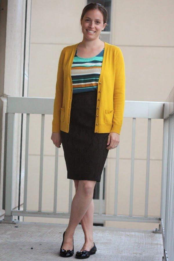 yellow Banana Republic cardigan and black skirt