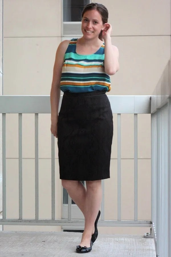 black skirt and blouse for work