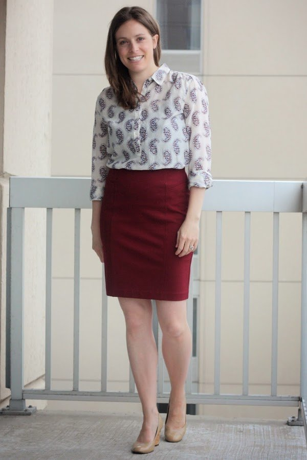 paisley print blouse remix, with red pencil skirt, for work - www.honestlymodern.com