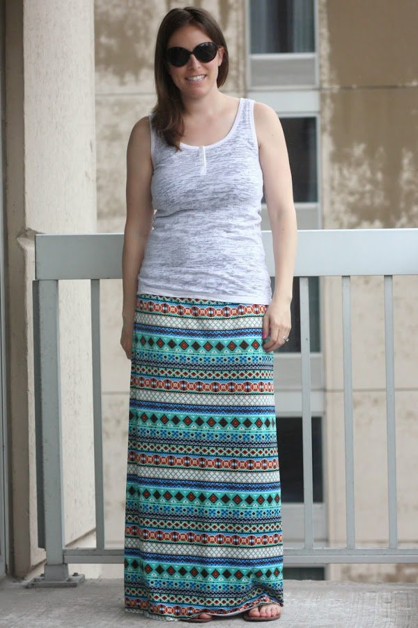 white tank, DIY maxi skirt, sunglasses
