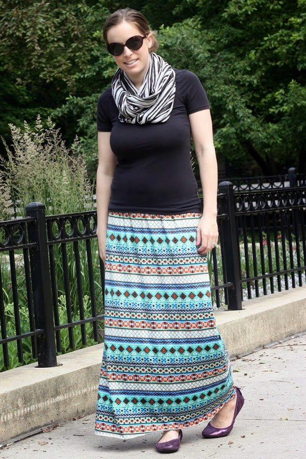 DIY maxi skirt and black cardigan, black striped scarf, flats