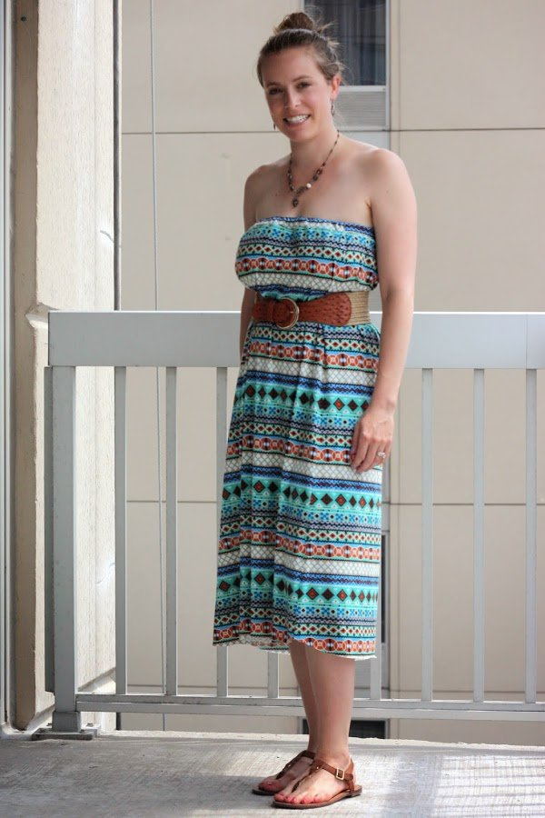 DIY maxi skirt as dress, cognac sandals, necklace, belt