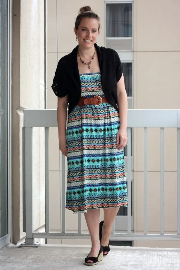 DIY maxi skirt and black cardigan