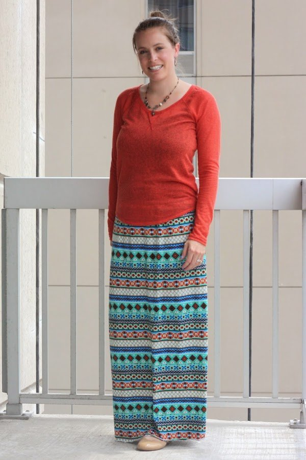 self-made maxi skirt and orange sweater with nude flats